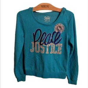 Justice Blue Peace Hoodie - Sz 12